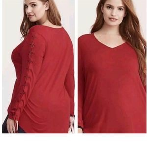 TORRID Red Long Sleeve Super Soft Red Top NWT 00